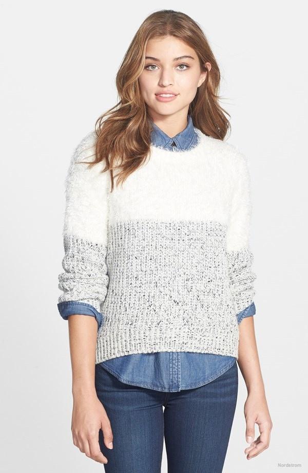 Two by Vince Camuto Eyelash Yoke Marled Sweater