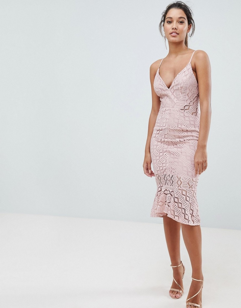 Love Triangle Cami Strap Lace Dress with Fluted Hem $66