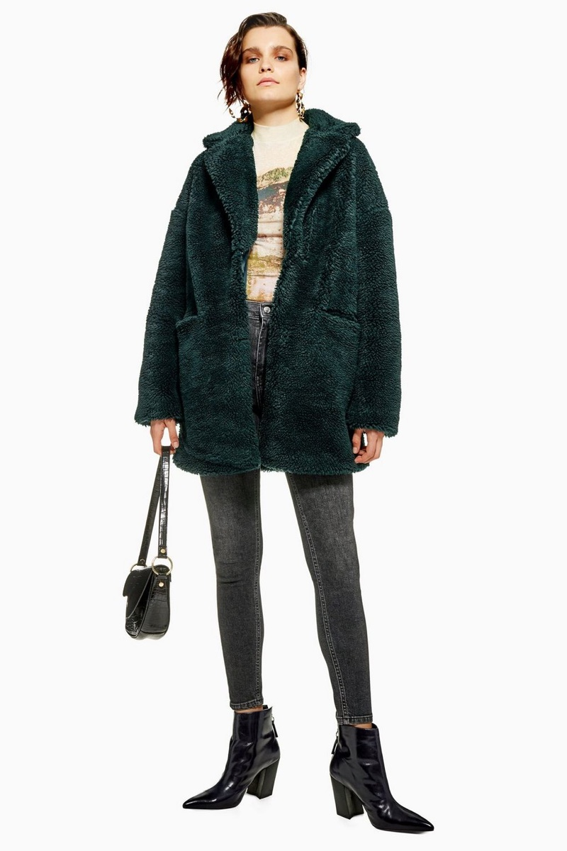 Topshop Borg Faux Fur Coat in Forest Green $65 (previously $130)