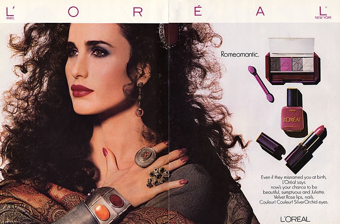 tbt 1980s l�oreal makeup ads with andie macdowell