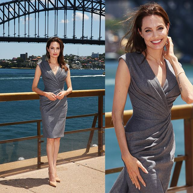 "Angelina Jolie Wears Custom Versace at ""Unbroken"" Sydney Photo Call"