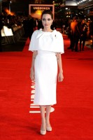 """Angelina Jolie in Ralph & Russo Couture Cape + Dress at the """"Unbroken"""" London Premiere"""
