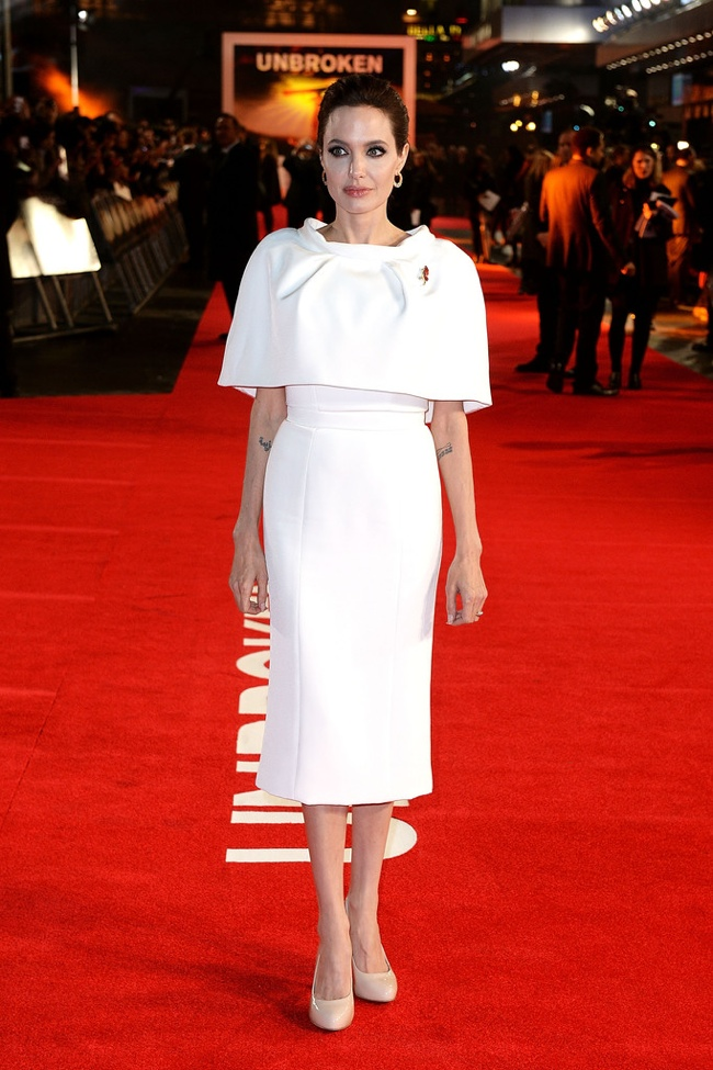 "Angelina Jolie in Ralph & Russo Couture Cape + Dress at the ""Unbroken"" London Premiere"