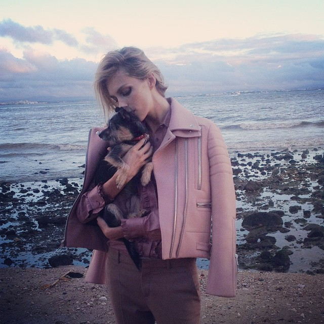 Anja Rubik and her dog Charlie, jacket is Gucci btw