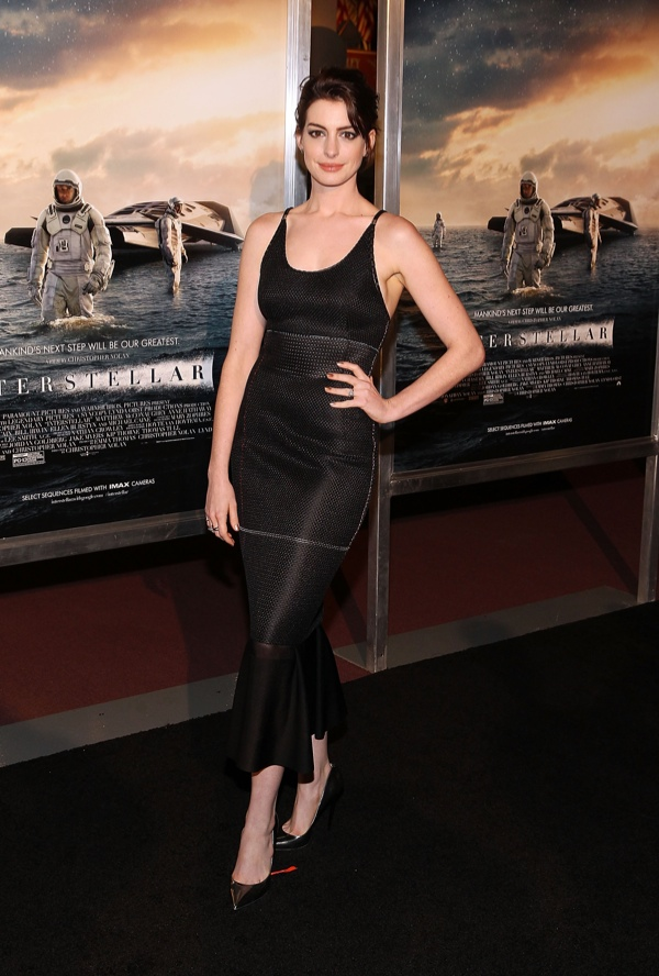 "Anne Hathaway Wears Calvin Klein Collection Dress at D.C. Premiere of ""Interstellar"""