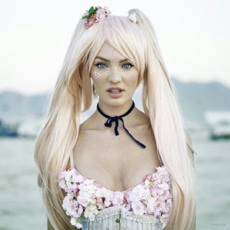 Another image of Candice Swanepoel dressed as an anime character.