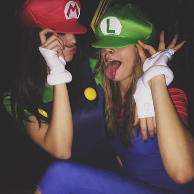 Cara Delevingne & Kendall Jenner went as Mario & Luigi