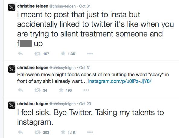 Chrissy Teigen returned to Twitter on Halloween