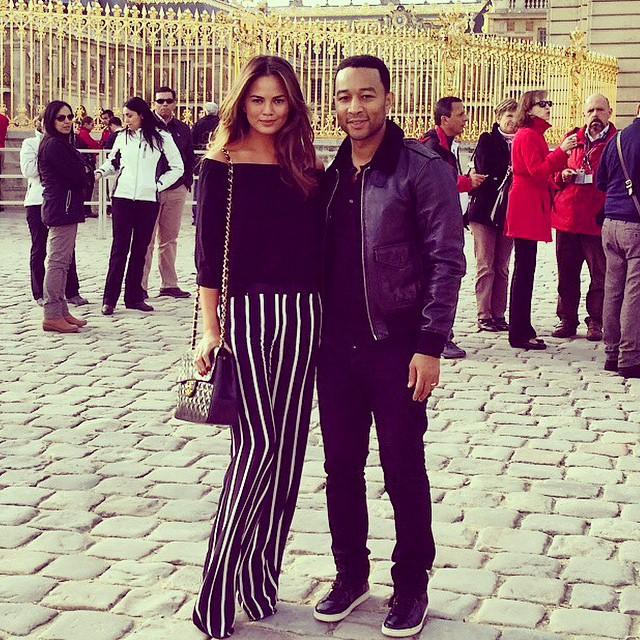 Chrissy Teigen and husband John Legend at Versaiiles