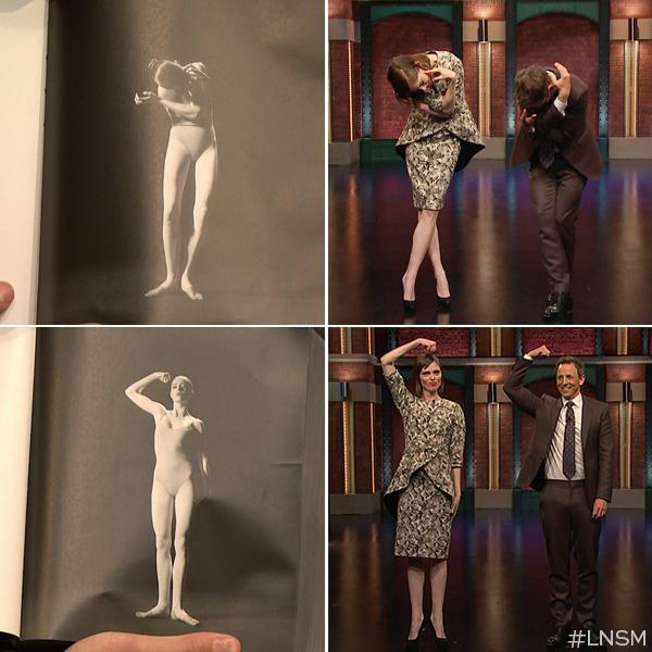 "Coco Rocha and Seth Meyers do some model poses for ""Late Night"". Credit: LNSM"