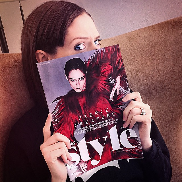 Coco Rocha poses with Sunday Style cover