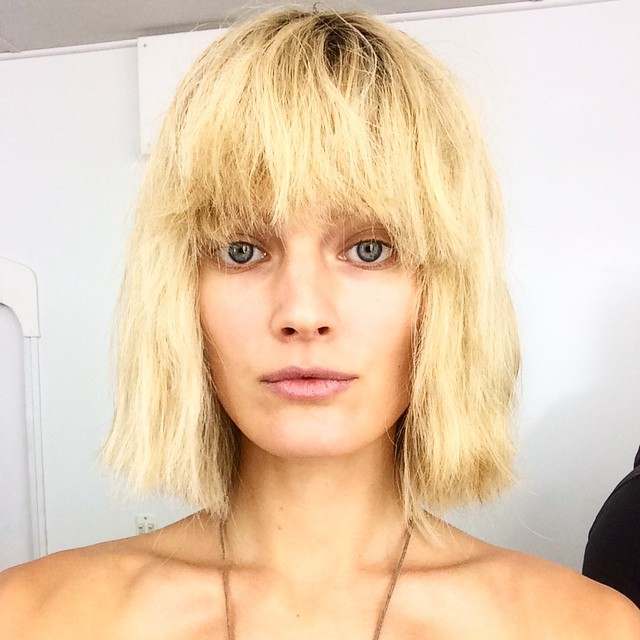 Constance Jablonski wears a bob hairstyle