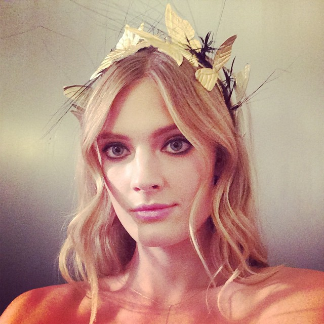 Constance Jablonski wears crown before CFDA event