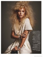 Kim van der Laan Wears Curly Hair & Sparkling Gems for Marie Claire Netherlands