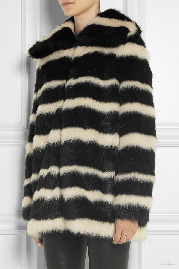 DKNY striped faux fur coat available at Net-a-Porter for $495