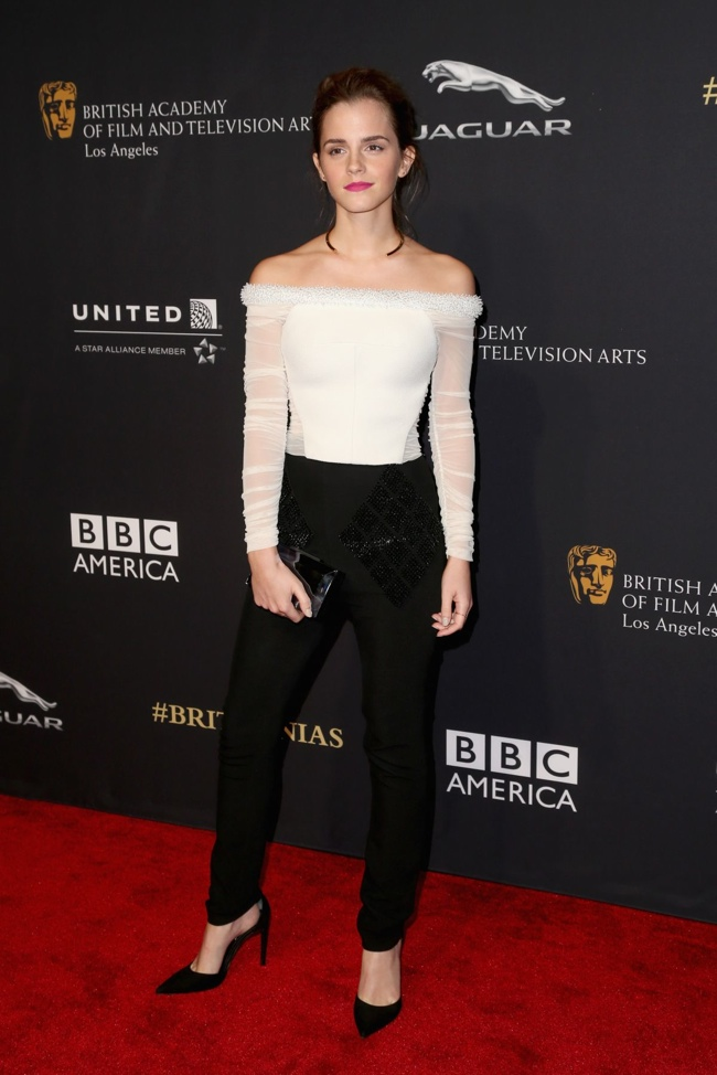 Emma Watson in Balenciaga Top & Pants at BAFTA Los Angeles Jaguar Britannia Awards