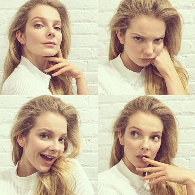Eniko Mihalik shows her different expressions