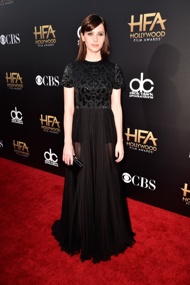 Felicity Jones wore a black dress from Alexander McQueen