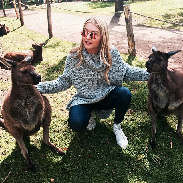 Gigi Hadid poses with kangaroos