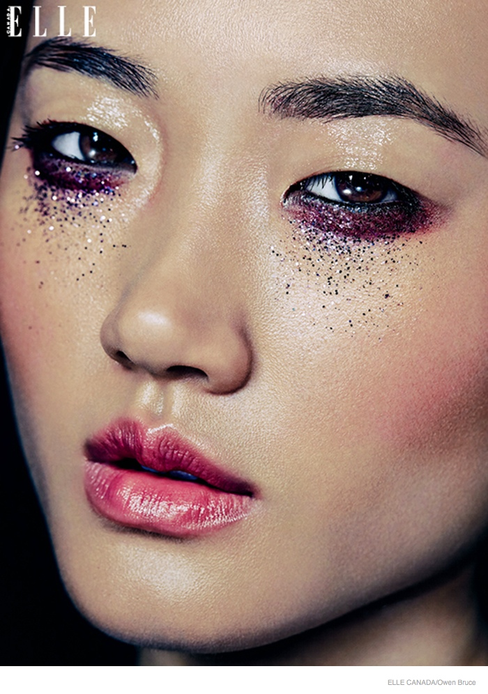 Emma & Ashley Model Glittery Holiday Makeup Looks in Elle ...