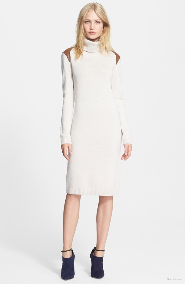 Haute Hippie Leather Trim Turtleneck Sweater Dress available at Nordstrom for $595