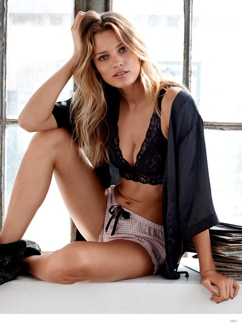 Edita Vilkeviciute Wears Sleepwear Style for H&M