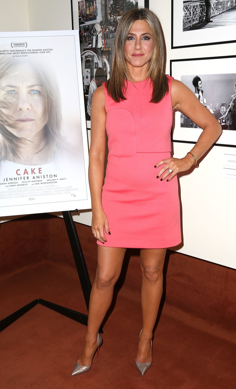 "Jennifer Aniston Wears Calvin Klein Collection Dress at ""Cake"" LA Screening"