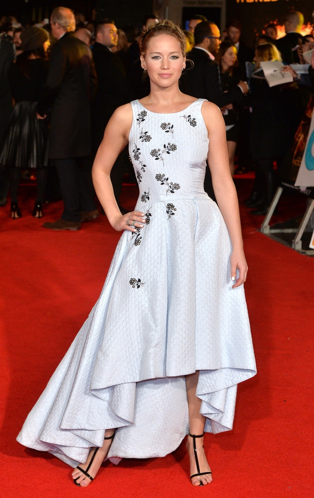 "Jennifer Lawrence Charms in Blue Dior Dress at ""The Hunger Games: Mockingjay - Part 1"" London Premiere"