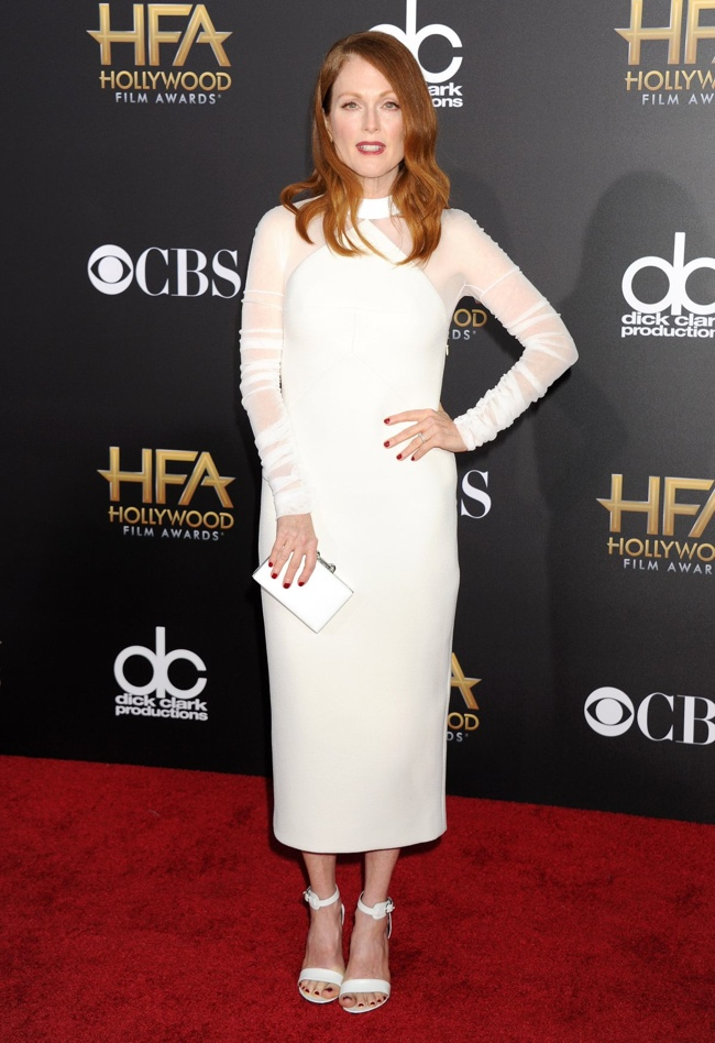 Julianne Moore opted for a white Balenciaga dress