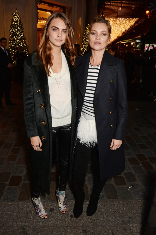 Kate Moss & Cara Delevingne Unveil Burberry Festive Windows at Printemps