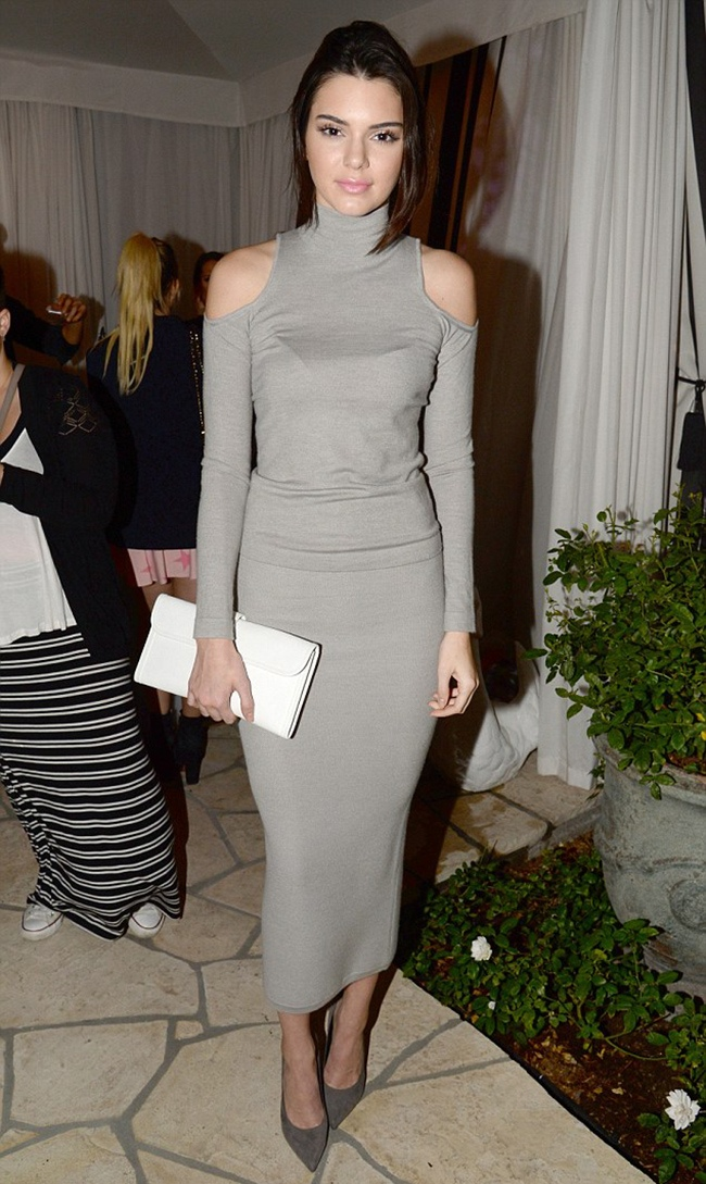 Kendall Jenner Dons Donna Karan Shoulder Top & Skirt at Wildfox & Barbie Event