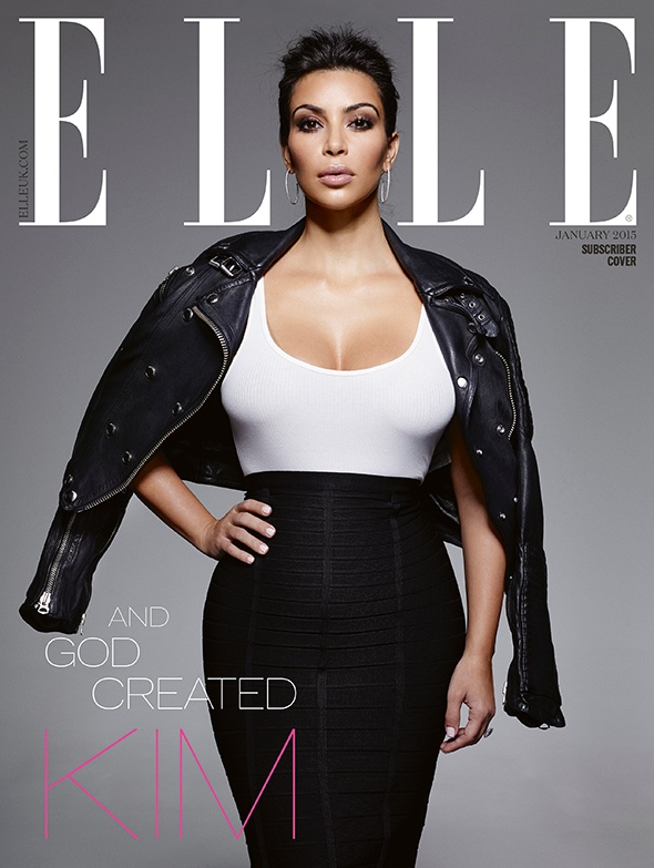 kim kardashian lands elle uk january 2015 cover