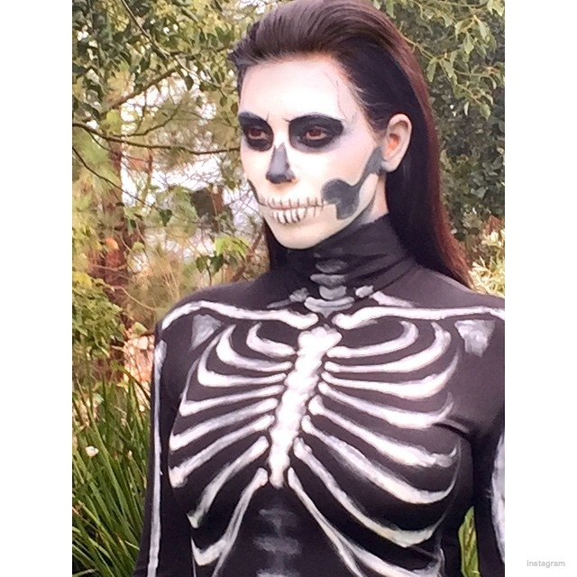 Kim Kardashian also had a spooky Halloween costume for 2014 with a skeleton bodysuit and matching face