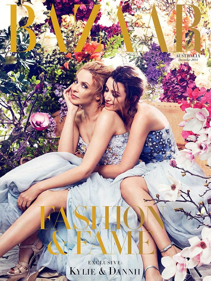 Kylie & Dannii Minogue Land December 2014 Cover of Harper's Bazaar Australia