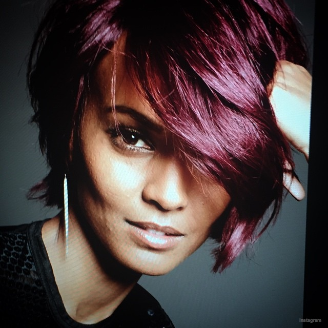 Liya Kebede goes short with a dark red hairdo for future L'Oreal ad