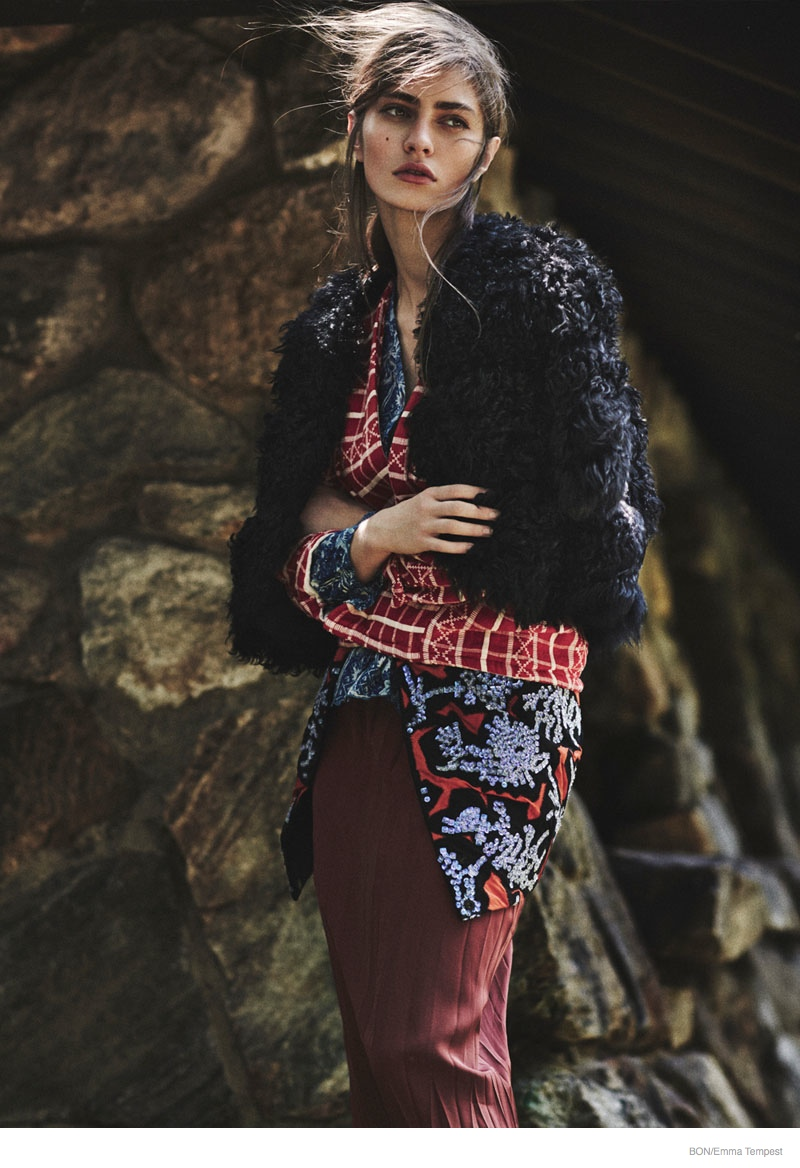 Marine Deleeuw Wears Outdoors Fashion for Bon by Emma Tempest