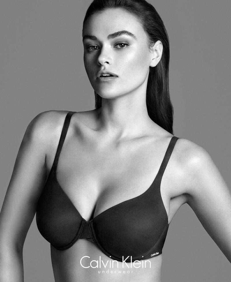 Plus-size model Myla Dalbesio poses in recent Calvin Klein Underwear ad. Photo: Lachlan Bailey