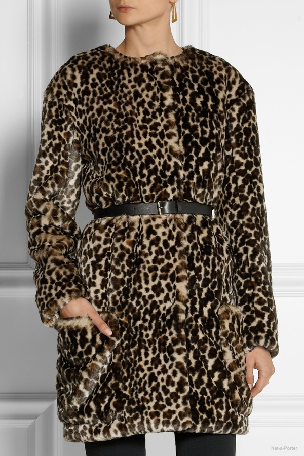 Nina Ricci leopard print faux fur coat available at Net-a-Porter for $1735