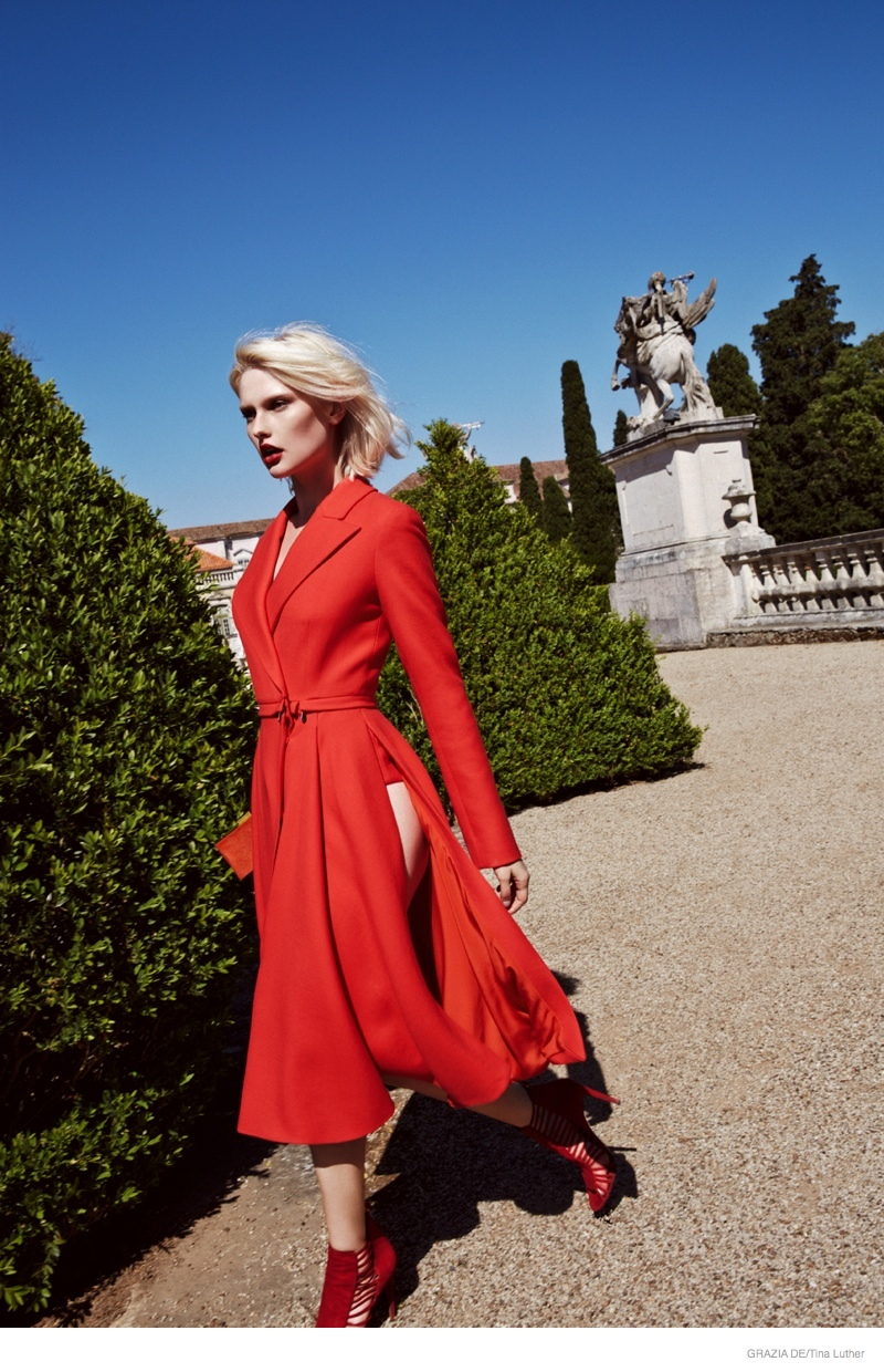 Anna Emilia Seewald in Red Hot Looks for Grazia Germany
