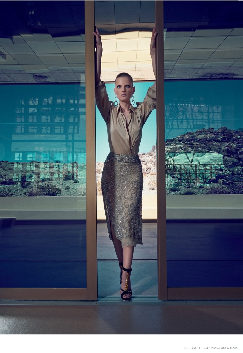 Guinevere Van Seenus Wears Resort 2015 Dresses for Bergdorf Goodman