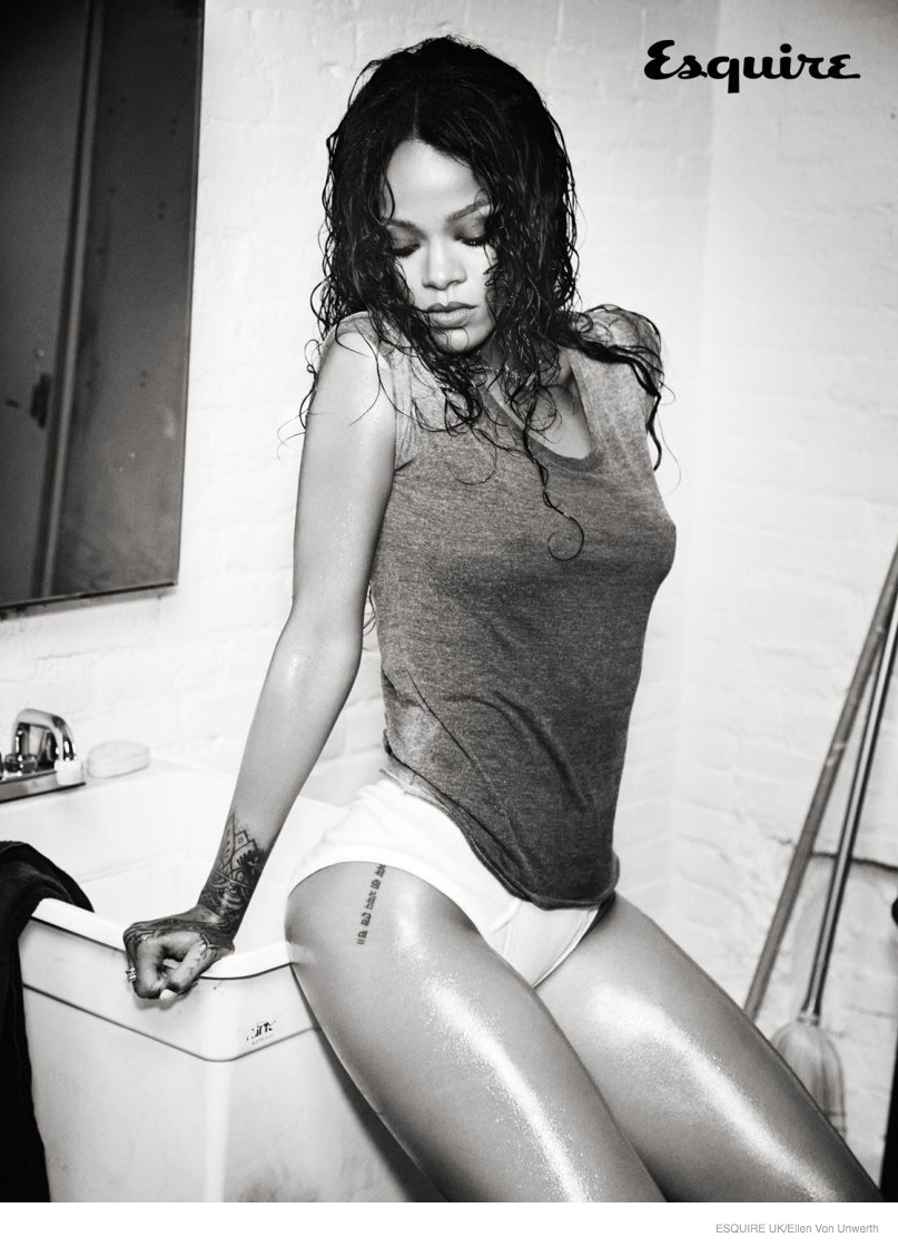 Rihanna Gets Wet & Naked for Esquire UK December 2014 Cover Shoot