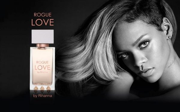 Rihanna posted an ad visual from her upcoming Rogue Love fragrance on Twitter