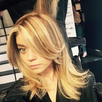 Sarah Hyland shows the new blonde hair color before extensions