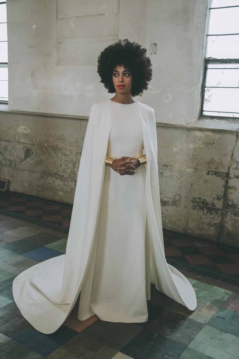 Solange Knowles wears Kenzo wedding dress in official wedding portrait by Rog Walker. Photo via Vogue.
