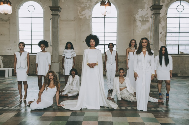 Solange Knowles, Beyonce Knowles, Tina Knowles, Janelle Monáe & more in official wedding portrait by Rog Walker. Image via Vogue.