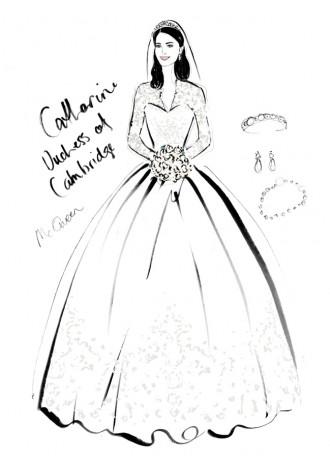 Catherine Duchess of Cambridge Wedding Dress. Photo: Megan Hess