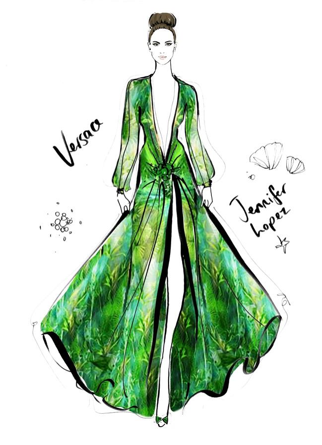 Jennifer Lopez Versace Grammys Dress. Photo: Megan Hess