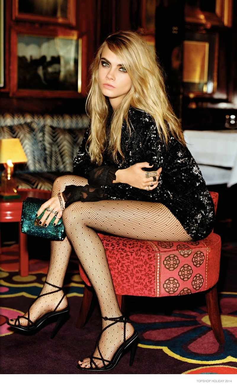 Cara Delevingne Stars in Topshop Holiday 2014 Campaign