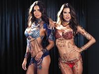 Angels Adriana Lima (L) & Alessandra Ambrosio (R) wear the two Victoria's Secret Fantasy Bras for 2014