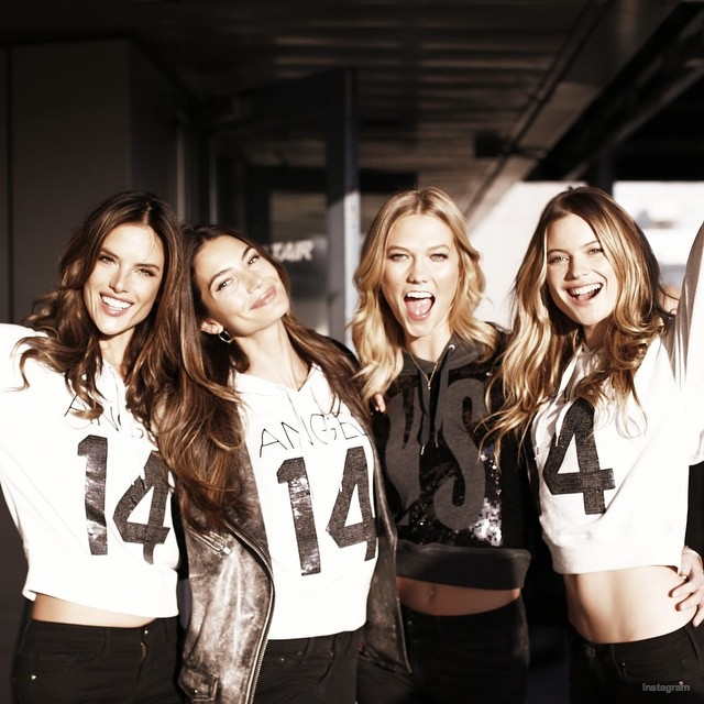 Angels Alessandra Ambrosio, Lily Aldridge, Karlie Kloss and Behati Prinsloo ham it up